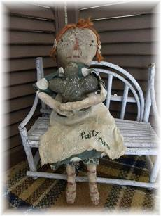 Patty Ann-st. patricks day, lucky, green, shamrock, primitive, primitive doll, doll, cloth doll, rag doll, primitive rag doll, primitive cloth doll, auburn, handmade, raggedy ann