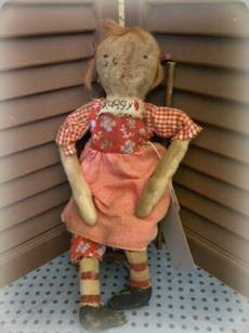 Vintage Raggy-vintage, antique, doll, antique doll, vintage doll, cloth doll, rag doll, grungy, old, farmhouse, country, art, fiber art, sculpted, handmade