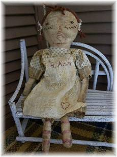 R. Ann-old rag doll, primitive, primitive rag doll, primitive raggedy ann, vintage, vintage cloth doll, old cloth doll, folk art, folk art doll, doll, brown, tan, red